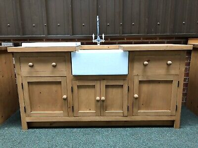 Large Freestanding Solid Wood Kitchen Unit Inc Taps , Drainer And Belfast Sink • 1,395£