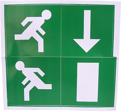 Fire Exit Escape Green Man Vinyl Adhesive Label Sticker Safety Sign Down DG231 • 2.49£