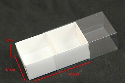 50 WHITE CHOCOLATE BOX CLEAR SLIDE ON LID 2 Compartments Mini Small Favours Gift • 47.11£