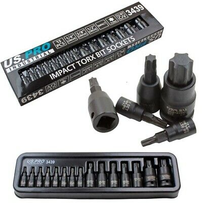 15pc IMPACT TORX BIT SOCKET SET By US PRO INDUSTRIAL 1/4  3/8  1/2  Drive T6-T70 • 18.99£
