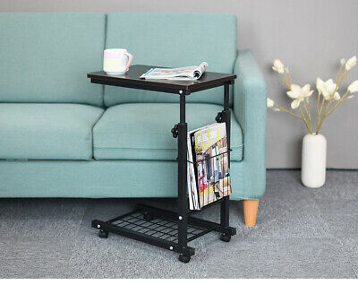 AU59.95 • Buy Rolling Height Adjustable Desk Sofa Side Table W/ Storage Small Laptop Table