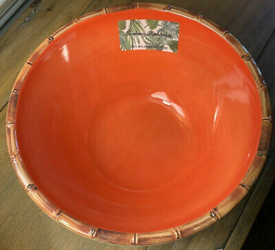 $29 • Buy NEW Tommy Bahama Melamine 10  Salad/Serving Bowl Orange With Bamboo Edge