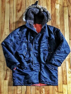 $35 • Buy VTG Military Flying Mans Jacket Air Force N-3B Size 40, L Navy Parka AS IS