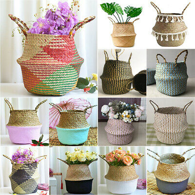 Seagrass Belly Woven Basket Storage Plants Flower Straw Pots Wicker Home Decor • 7.12£