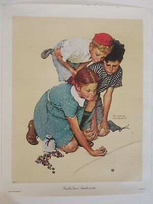 $ CDN14.80 • Buy Norman Rockwell Print On Canvas 1972  KNUCKLES DOWN  Boys Marbles Girl From 1939