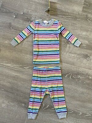 $19.99 • Buy New Hanna Andersson Pajamas Two-piece Striped Rainbow US 12-18 Months