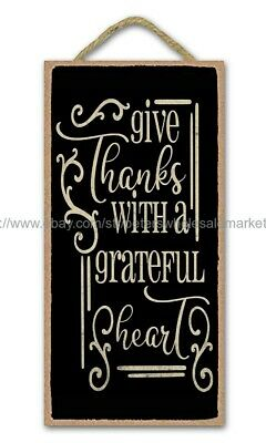 Wall Art Give Thanks With A Grateful Heart Christian Inspirational Wood Sign • 11.36£