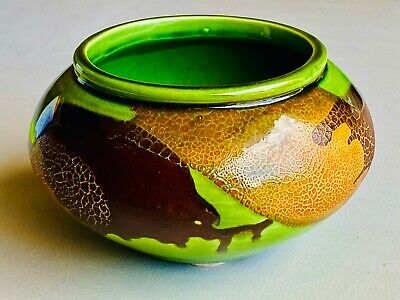 $28.88 • Buy MCM ART POTTERY Royal Haeger Earth Graphic Wrap Planter Bowl Green Orange Brown