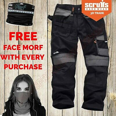 Scruffs 3D TRADE BLACK Cargo /Combat Work Trousers With FREE FACE MORF • 39.95£