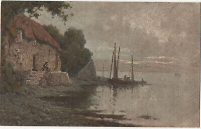£5 • Buy C. W. Faulkner Cottage And Boats Seascape Postcard Series 1562