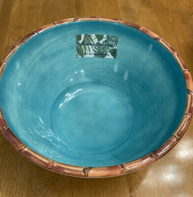 $35 • Buy SHIPPED FREE 10  SALAD/SERVING Bowl Tommy Bahama Aqua Blue Bamboo Edge MELAMINE
