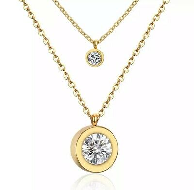 Gold 316L Stainless Steel Double Chain Crystal Coin Necklace UK Seller • 3.99£