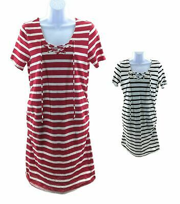 AU24.46 • Buy Two Beautiful Maternity Short Sleeve V Neck Striped Dress Ruched Sides Casual