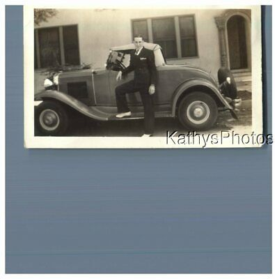 Found B&w Photo G_1729 Young Man Standing At Car Foot On Running Board • 5.25£