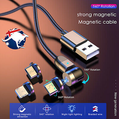 AU8.99 • Buy 360° Magnetic Type C/Micro USB Charger Charging 2.4A Cable For Android IPhone