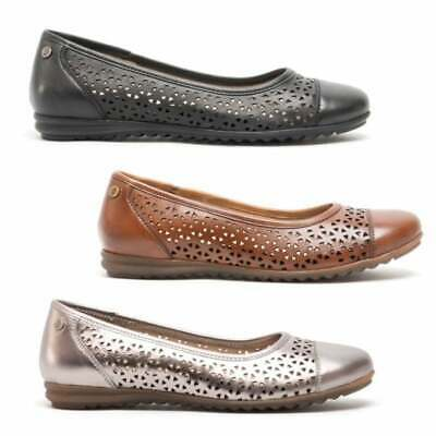 Hush Puppies LEAH Ladies Womens Casual Slip On Leather Ballerina Pumps Shoes • 44£