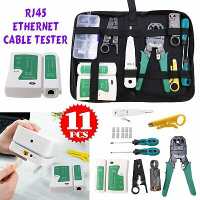 Ethernet Network Kit RJ45 Cat5e LAN Cable Tester Cutter Crimping Punch Tool • 12.49£