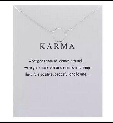 £3.20 • Buy Karma Necklace Leaving Gift Traveling Friend New Job Moving Present Friend
