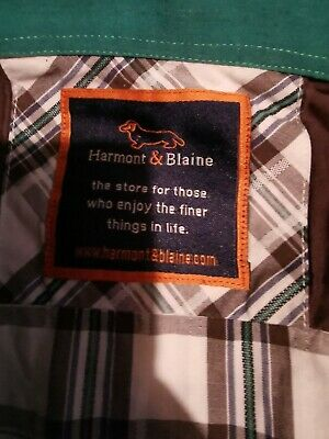 Harmont & Blaine Men's Button Down Shirt, Size L Short Sleeve Checked Greenbrown • 15.86£