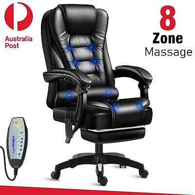 AU159.99 • Buy 8 Point Office Chair Massage Chairs Leather Computer Desk Recliner Gaming Seat