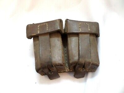 Old German Two Pocket Tan Leather Ammunition Pouch • 19.99£