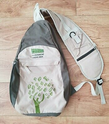 ATHENS 2004 OLYMPIC GAMES - World Enviroment Day Khaki Canvas Backpack Bag • 9.99£