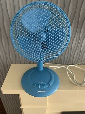 Vintage PIFCO Electric Desk Fan Model No. 10070 Blue Retro 1970s Plastic Metal • 20£