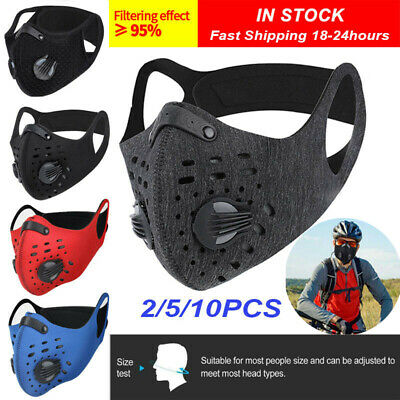 AU14.61 • Buy Reusable Sport Face Nose Mask Silicone Mouth Filters Pads Purify Respirators Set