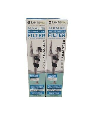 2 Pack Santevia Alkaline Water Bottle Filter Recovery Stick PH Mineralized Power • 14.54£