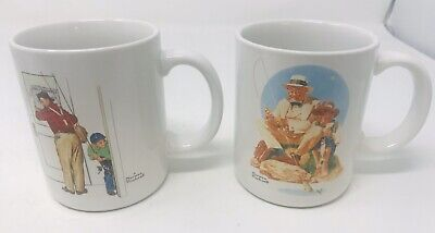 $ CDN8.57 • Buy 2 Vintage 1987 NORMAN ROCKWELL MUSEUM COLLECTIONS MUGS Fishing