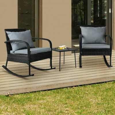 AU303.95 • Buy 3 PCS Outdoor Rocking Set Patio Garden Setting Lounge Furniture Weatherproof