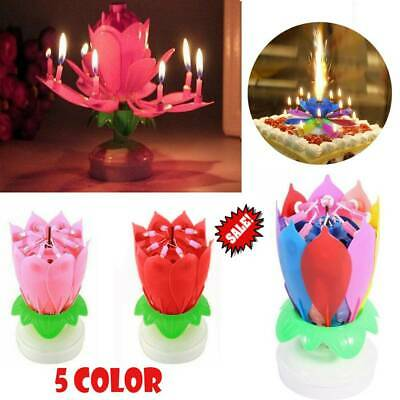 $ CDN6.28 • Buy Musical Birthday Candle Lotus Flower Rotating Spin Magic Cake Topper Party
