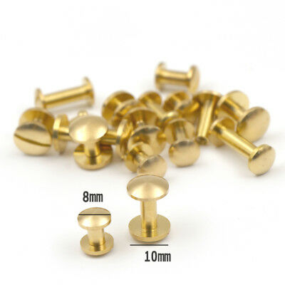 £2.17 • Buy Solid Brass 8mm 10mm Wide Chicago Screws Studs Leather Craft Rivets Binding Book