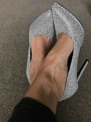 👠 Ladies Missguided Black & White High Heel Shoes Size 8 41 Worn Once • 9.99£