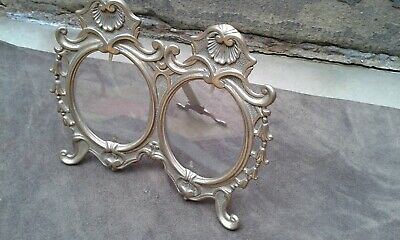 Vintage Brass Rococo Style Double Photo Frame Easel Back Oval Glass Holds 2 Phot • 14.99£