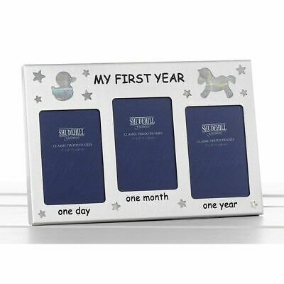 £3.99 • Buy My First Year Photo Frame Three 2  X 3  Pictures Occasion Presents New Born Baby