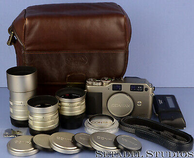 $ CDN1873.53 • Buy Contax G1 35mm Film Rangefinder Camera Outfit +28/45/90mm Lenses +bag Complete!