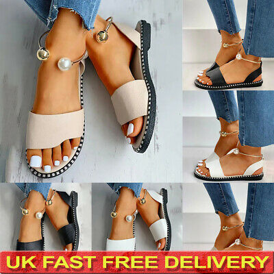 Womens Summer Ankle Strap Sandals Ladies Casual Party Flat Shoes Size 3-6 UK • 8.57£
