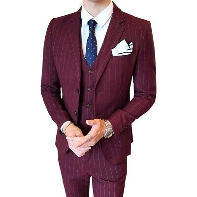 $ CDN141.48 • Buy Men's Striped Suits 3PCS Business Tuxedo Formal Dress British Style Outfit New L