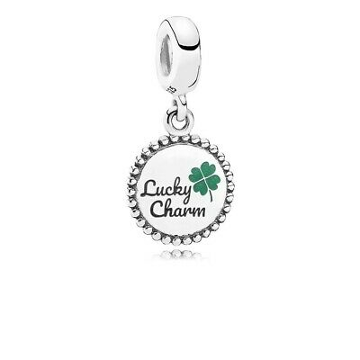 AU65.95 • Buy Authentic PANDORA Lucky Dangle Charm  Sterling Green Clover ENG791169_81