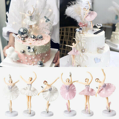 3Pcs Ballet Beautiful Girl Cake Toppers Party Birthday Ornaments Wedding Decor • 4.99£