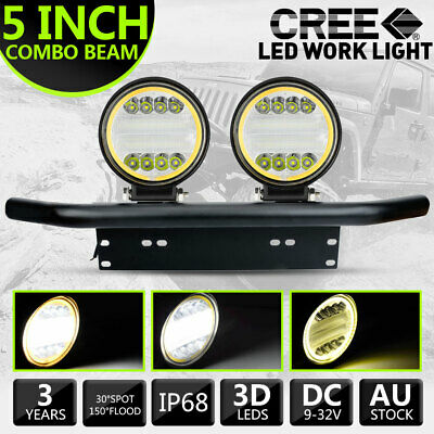 AU52.99 • Buy Pair 5 Inch LED Driving Lights Round Work Spot Flood Front Bumper & Number Plate