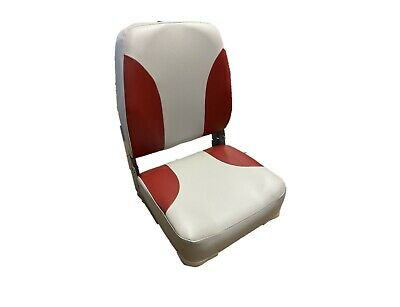 High Quality Grey & Red Vinyl High Back Folding Boat Helm Seat • 53.99£