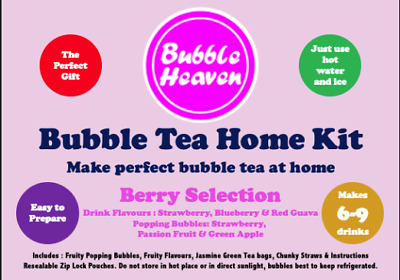 £15.99 • Buy Boba Bubble Tea Make At Home Kit 6 Extra Large / 9 Large Fruity Berry Drinks