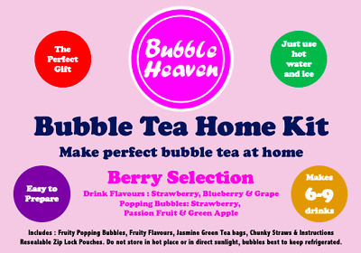 Boba Bubble Tea Make At Home Kit Makes 6 Extra Large Fruity Berry Drinks  • 15.99£
