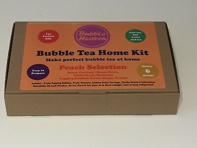 Boba Bubble Tea Make At Home Kit Makes 6 Extra Large Fruity Peach Drinks  • 15.99£