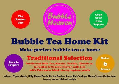 Boba Bubble Tea Make At Home Kit Makes 6 Traditional Milky Drinks With Tapioca • 15.99£