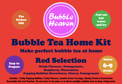 Boba Bubble Tea Make At Home Kit Makes 6 Extra Large Fruity Red Drinks  • 15.99£