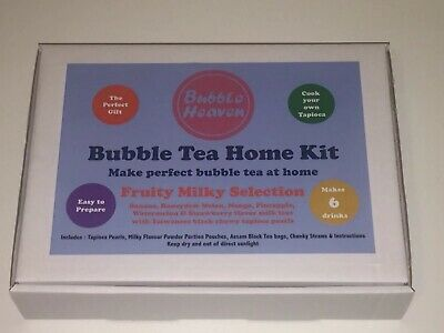 Boba Bubble Tea Make At Home Kit Makes 6 Fruity Milky Drinks With Tapioca • 15.99£