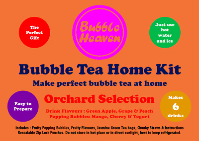 Boba Bubble Tea Make At Home Kit Makes 6 Extra Large Fruity Orchard Drinks  • 15.99£